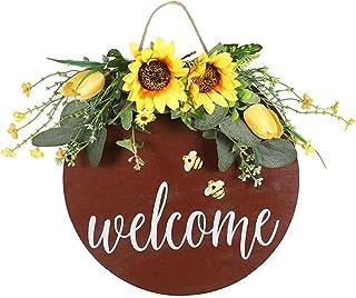 Bienvenido Colgar de la Pared Girasol Signo Positivo de la Guirnalda de la Flor de Abeja Muestra Colgante decoración del F...