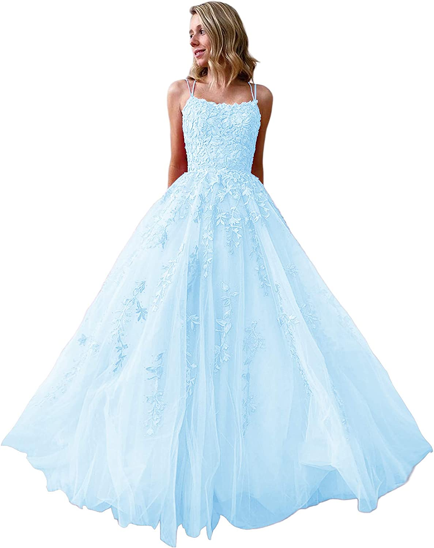 Prom Dresses Long Long for Women Formal A Line Evening Gown Lace Applique Bridesmaid Dress