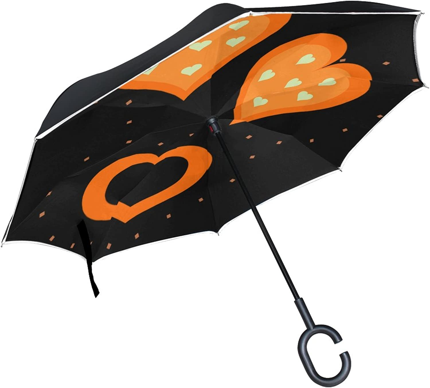 Double Layer Ingreened Hearts Shapes orange Three Sets Group colorful Umbrellas Reverse Folding Umbrella Windproof Uv Predection Big Straight Umbrella for Car Rain Outdoor with CShaped Handle