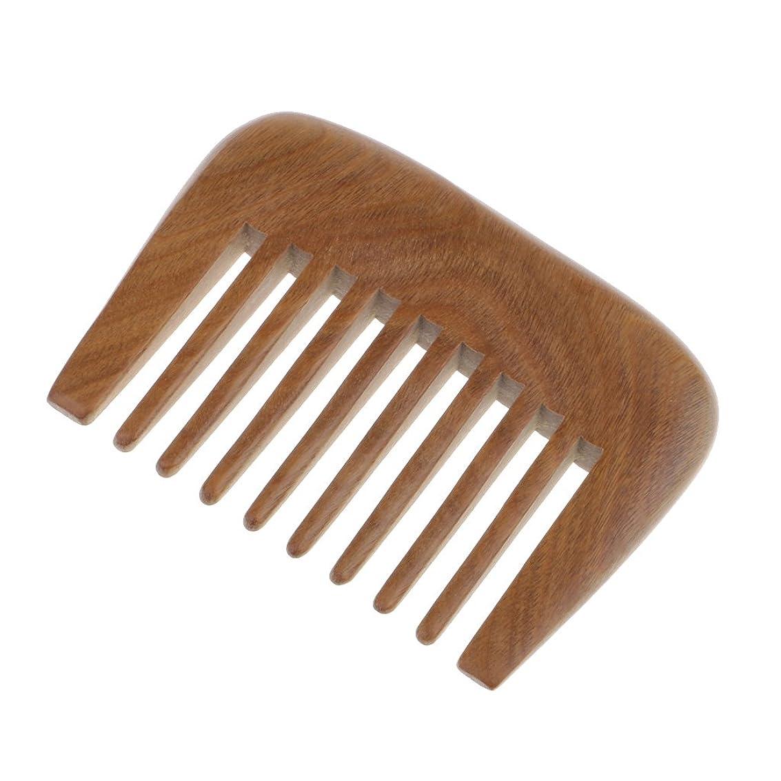インフルエンザセンチメートル指CUTICATE 天然木広い歯の櫛Detanglerブラシ帯電防止グリーンビャクダン