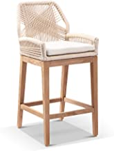 Darcey Outdoor Teak and Rope Bar Stool - Cream, Cream - Outdoor Teak Chairs, Outdoor Furniture - Bay Gallery Furniture
