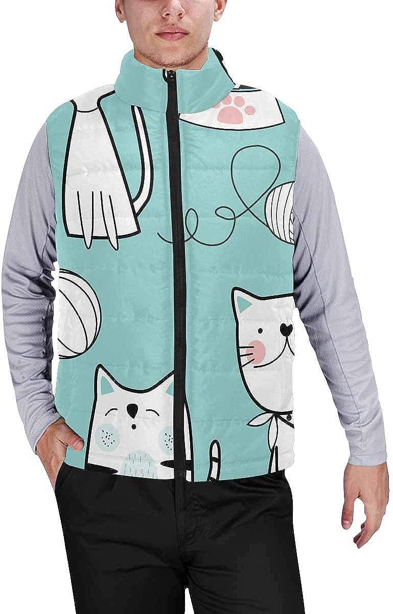 InterestPrint Men's Lightweight Outwear Vest for Hiking, Fishing Cute Cat in Reindeer Antlers