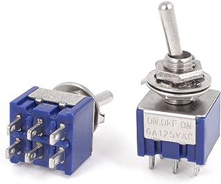 Sourcingmap - 2 pc ac 125v dpdt 6 terminales de 3 posiciones on-off-on interruptor de palanca azul