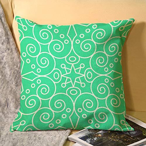 Hioilyday Funda de almohada de lino de Damsak verde simple estilo europeo floral de doble cara para verano exótica planta de la selva, funda de almohada decorativa para el hogar HX200220FOL009 45 x 45 cm