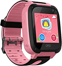 Kids Smart Watch Phone, Smartwatches for Children with GPS Tracker Anti-Lost SOS Call Boys and Girls Birthday Compatible Android iOS Touch Screen Smartwatch (Pink)