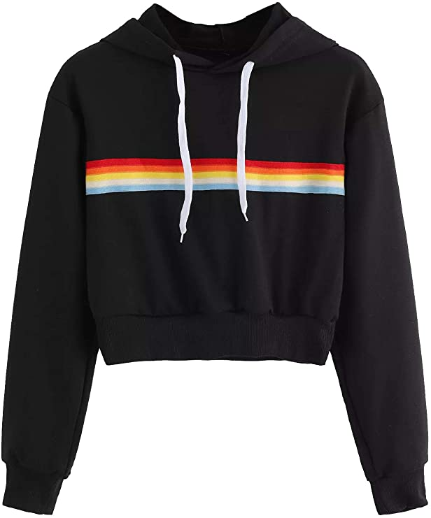 Vintage Workout Clothes – Retro Gym Clothes SweatyRocks Womens Long Sleeve Rainbow Stripe Sweatshirt Crop Top Hoodies  AT vintagedancer.com