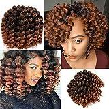 Jamaican Bounce Crochet Hair-4 Packs Deal 8 Inch Jumpy Wand Curl Crochet Hair Curly Crochet Hair For Black Women (8 Inch 4 Packs, T1B-30#)