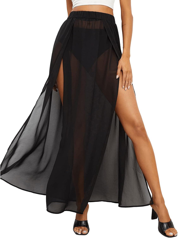 Verdusa Women's Elastic Waist High Split Sheer Mesh Swimwear Maxi Cover Up Skirt