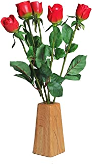 JustPaperRoses 5th Wedding Wood Roses 5-Stem Bouquet and Wood Vase