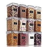 Vtopmart 1.6L Vorratsdosen Set, Müsli Schüttdose & Frischhaltedosen, BPA frei Kunststoff Vorratsdosen luftdicht,Trockenfutterbehälter, Satz mit 12, 24 Etiketten für Getreide, Mehl usw (Schwarz)