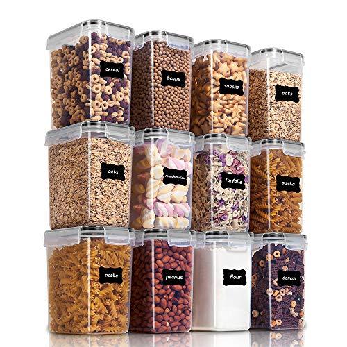 Vtopmart 1.6L boîtes de Conservation Alimentaire sans BPA de Nourriture en Plastique avec Couvercle,Ensemble De 12+24 Étiquettes,pour Céréales,Farine (Noir)