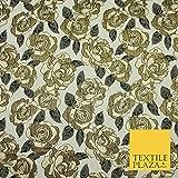 Luxuriöser Brokat-Stoff, elfenbeinfarben, Metallic Gold,