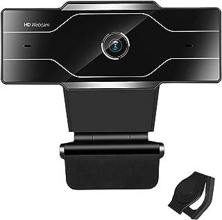 EasyULT Webcam 1080P Full HD con Microfono, USB 2.0 Plug & Play, Webcam per PC Compatibile con Windows e Mac, Correzione Della Luce HD, Funziona con Skype, Zoom, FaceTime(Nero)