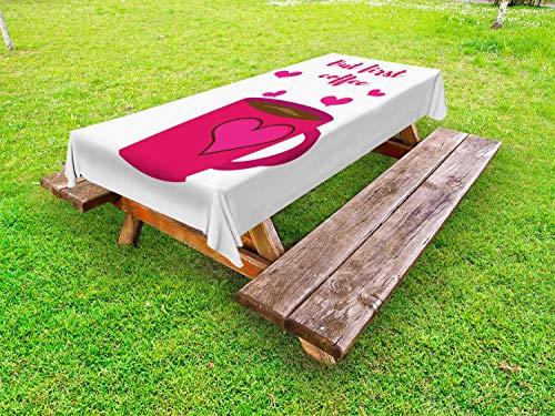 ABAKUHAUS Maar eerst koffie Tafelkleed voor Buitengebruik, Tekst en Harten, Decoratief Wasbaar Tafelkleed voor Picknicktafel, 58 x 120 cm, Hot Pink Dark Cocoa