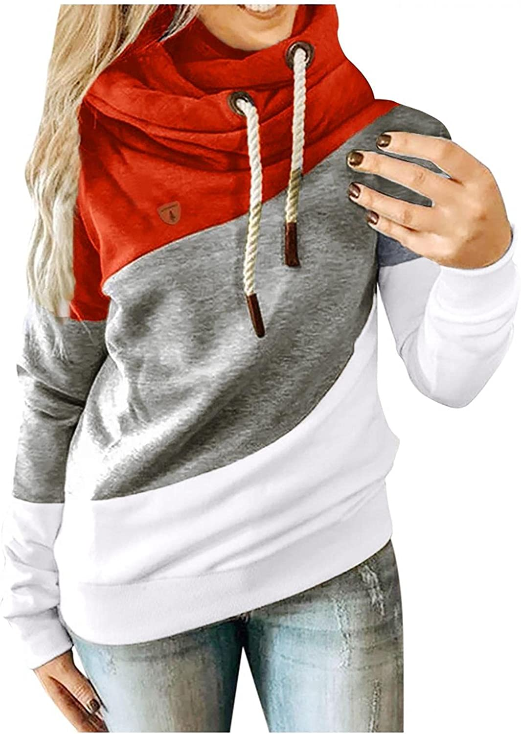 Hoodies for Women Trendy Casual Tops Long Sleeve Pullover Shirts Coats Hooded Drawstring Color Block Loose Sweatshirts