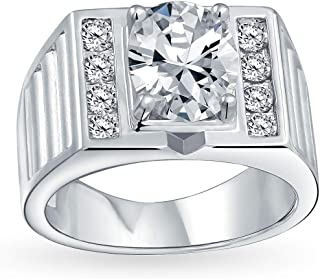 Bling Jewelry 3CT Oval Brilliant Cut Solitaire AAA CZ Mens Engagement Wedding Ring Wide Band Silver Plated Brass Matte Bru...