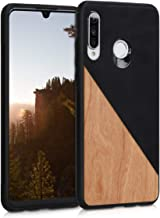 kwmobile Case Compatible with Huawei P30 Lite - Hard Cover with TPU Bumper and PU Leather/Wood Design - Two-Tone Wood Blac...