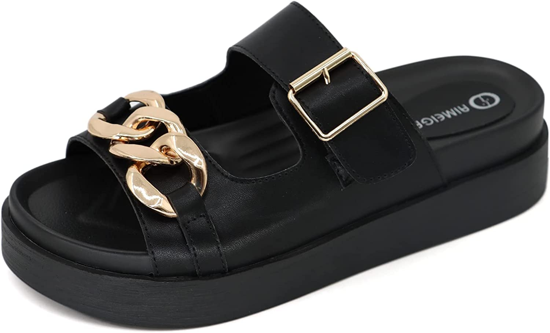 AIMEIGAO Womens Platform Slide Sandals Buckle Strap Open Toe Metal Chain Sandals