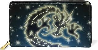 MASSIKOA Celestial Chinese Dragon The Night Sky Womens Clutch Purses Organizer And Handbags Zip Around Wallet