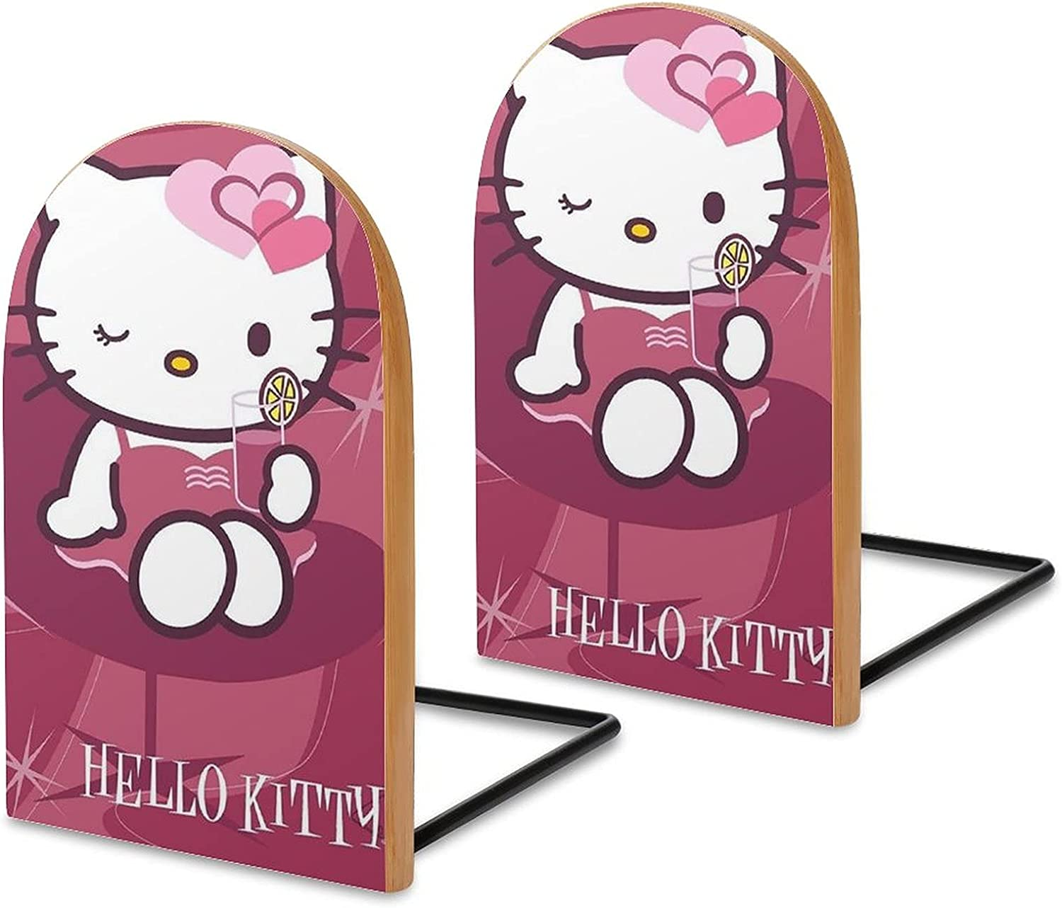 KRISMARIO Hellokitty 2pcs Heavy Wood Logs Bookends Modern for Ad