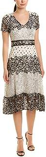 Taylor Dresses Women's Short Sleeve Mixed Print A-Line Lace Dress