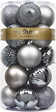 KI Store 20ct Christmas Balls Gray Shatterproof Christmas Tree Ball Ornaments Decorations for Xmas Trees Wedding Party Hom...