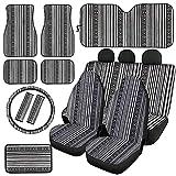 HUGS IDEA Juego completo de 12 fundas para asiento de vehículo con diseño de rayas étnicas, color gris