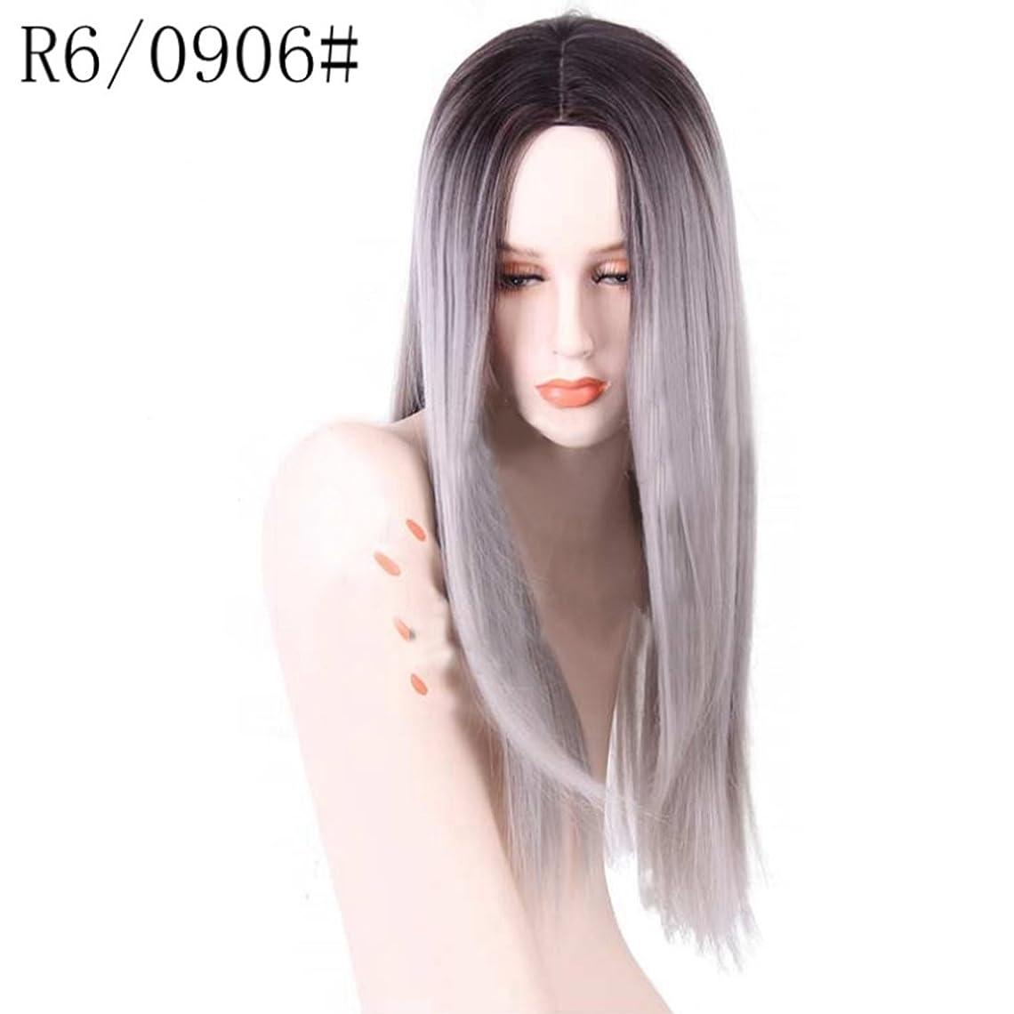 文芸シュガースペースDoyvanntgo 女性のための高温ウィッグフラットバンズウィッグの長いストレートヘア26inchの長さの自然な色のグラデーション (Color : R2/0906)