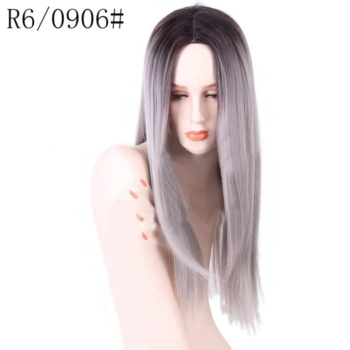 トン幻想突然Doyvanntgo 女性のための高温ウィッグフラットバンズウィッグの長いストレートヘア26inchの長さの自然な色のグラデーション (Color : R2/0906)
