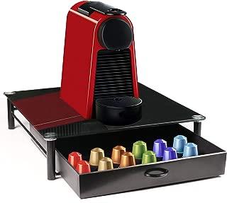 TAOKY K-CUP HOLDER,Black Toughened Glass coffee Storage Drawer