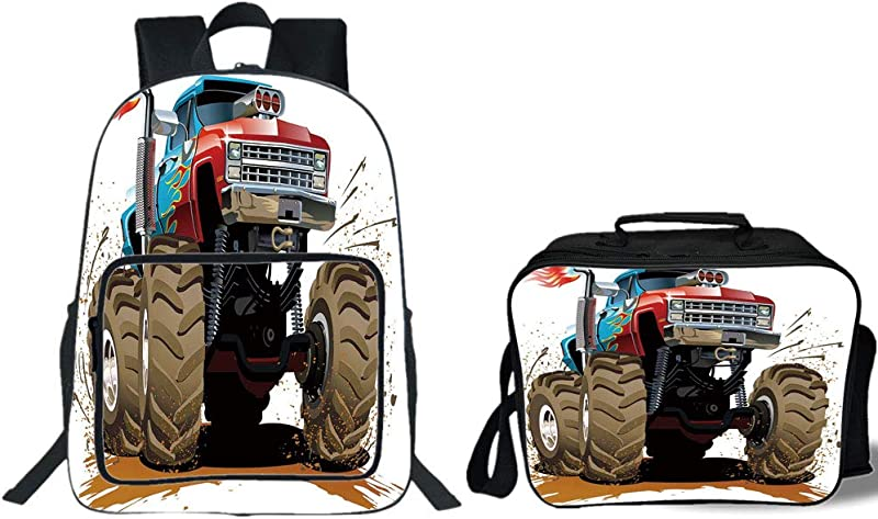 IPrint 19 School Backpack Lunch Bag Bundle Man Cave Decor Monster Truck Splashing Mud Graphic Design Flame Machinery Engine Wheels Decorative Multicolor For Boys Girls