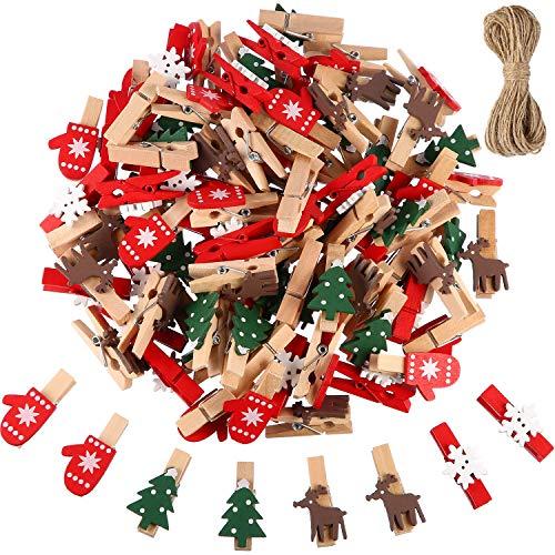 Blulu Clip di Legno di Natale 100 Pezzi Mini Mollette in Legno Artigianali Pin per Pegging per Foto Albero di Natale con Clip Renna di Fiocco di Neve Guanti Immagini Note Clip con 10 Metri Cordone