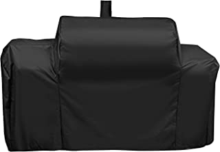 Unicook Heavy Duty Waterproof Grill Cover for Oklahoma Joe's Longhorn Combo Smoker, Outdoor Charcoal/Smoker/Gas Combo Grill Cover, Offset Smoker Cover, Fade and UV Resistant, Black