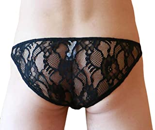 Men's Lace Floral Bikini Briefs Lingerie Underwear Sexy Thong Underpants
