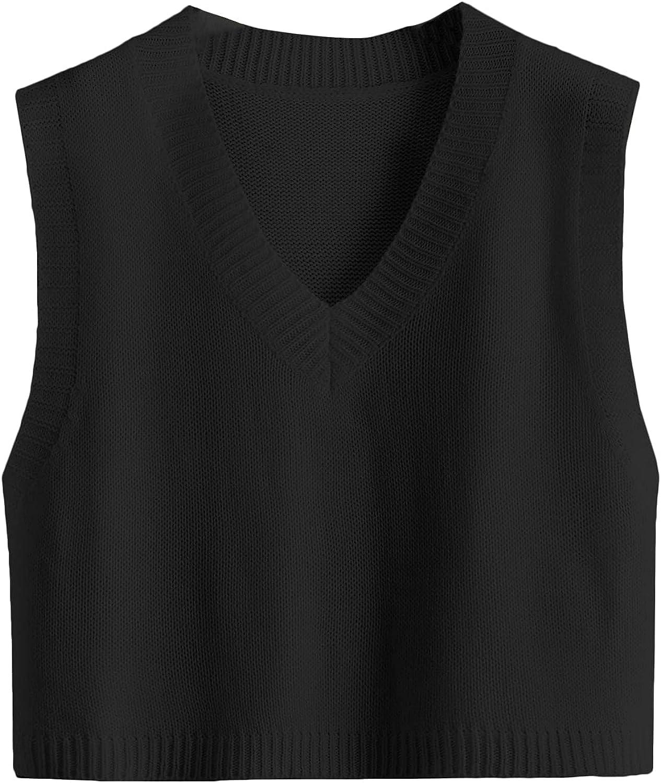 Romwe Women's Plus Size Knitted V Neck Vest Sleeveless Crop Sweater JK Uniform Pullover