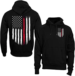 Thin Red Line USA Flag Firefighter Men's Hoodie Sweatshirt