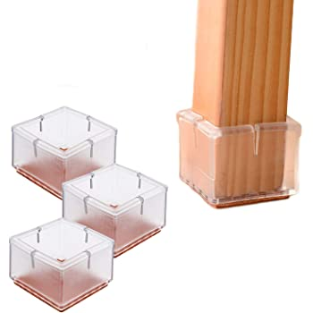 3.2cm-3.5cm Silicone Caps with Felt Pads #8 24 Pack LimBridge Chair Leg Wood Floor Protectors 3.2cm-3.5cm Square Length 1-1//4 to 1-3//8 Chair Feet Glides Furniture Carpet Saver 24 Pack Square Length 1-1//4 to 1-3//8