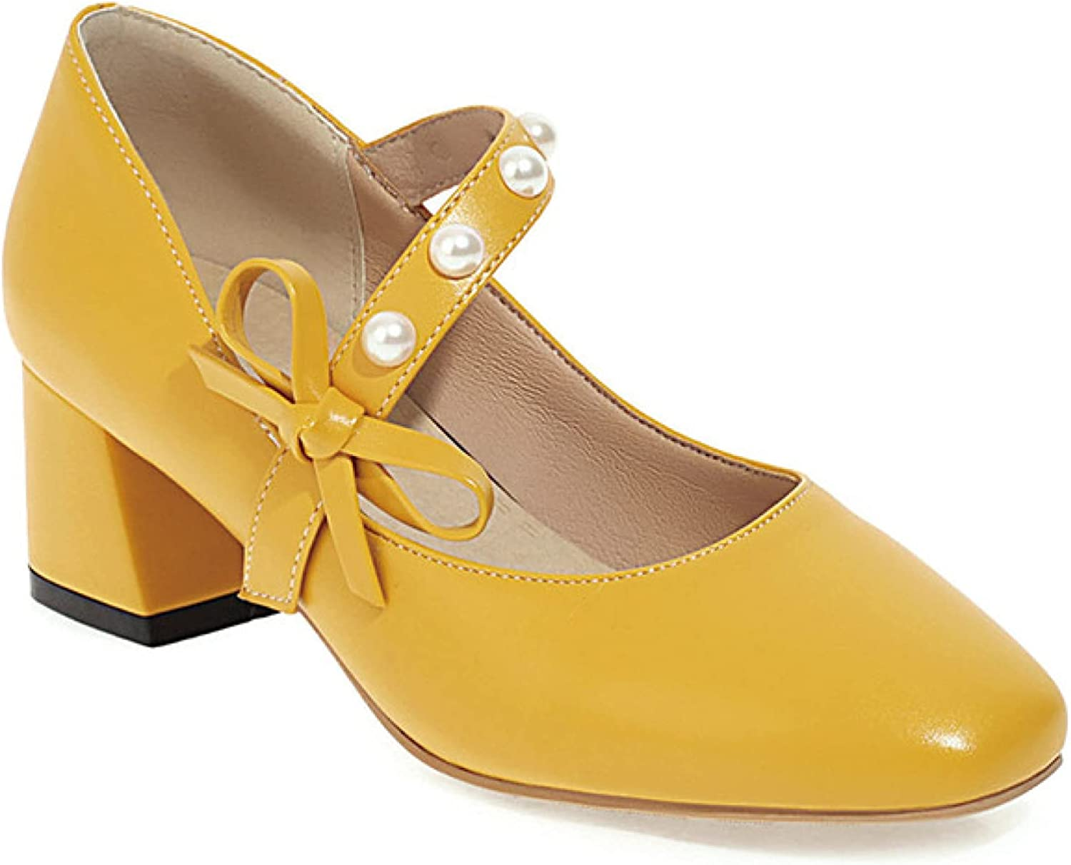 QSCQ Women's Bowknot Bombing new work Square Toe Janes Surprise price Pearl Buckle Mary Elegant