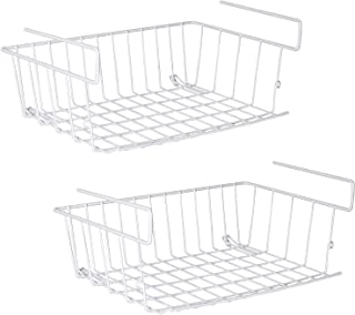Under Shelf Storage Basket,Under Cabinet Hanging Metal Wire Storage Wire Basket Organizer Fit Dual Hooks for Kitchen Pantr...
