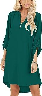 YOINS Långärmad t-shirt för kvinnor klänningar V-ringad knapp design tunika topp avslappnad lös klänning