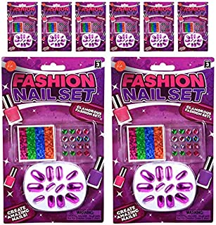 Kicko Colorful Fashion Nails - 256 Stick On Nails for Fashion, Pretend Play, Party Favors, Stocking Stuffers