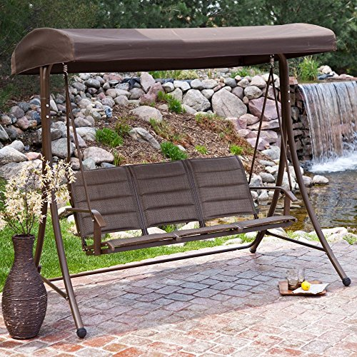 Coral Coast Bronze 3 Person Padded Sling Canopy Swing