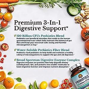 Vitalitown 120 Billion CFUs Probiotics | 36 Strains + Prebiotics + Digestive Enzymes for Men Women | Shelf Stable | Digestive & Immune Support | Vegan, Non-GMO, No Yeast | 30 Delayed Release Veg Caps