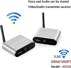 measy AV530 5.8GHz 8 Channel AV RCA Audio Transmitter Wireless Video & Audio Sender Transmitter & Receiver Extender for DVD to TV Wirelessly