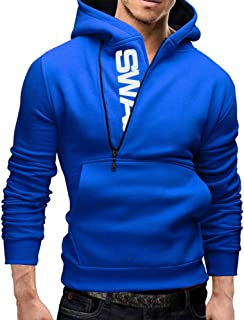 PinShang Men Fashionable Hoodie Letter Logo Casual Sweatshirts Hooded Pullover Top blue L