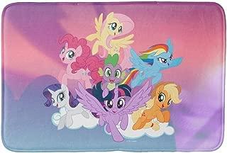 Hacleys-Doormat Welcome Mat Indoor/Outdoor Bath Floor Rug Decor Art Print with Non Slip Backing 16x24 inch-My Little Pony Mane six on Clouds Bath mat