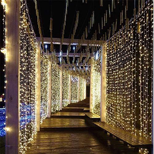 BLTR Deslumbrante Ventana 3x3 / 6x3m Cortina de la Secuencia del LED luz de la Navidad del carámbano Garland Luces for Fiesta de jardín de la Boda la Pared del Dormitorio Decoración Suave