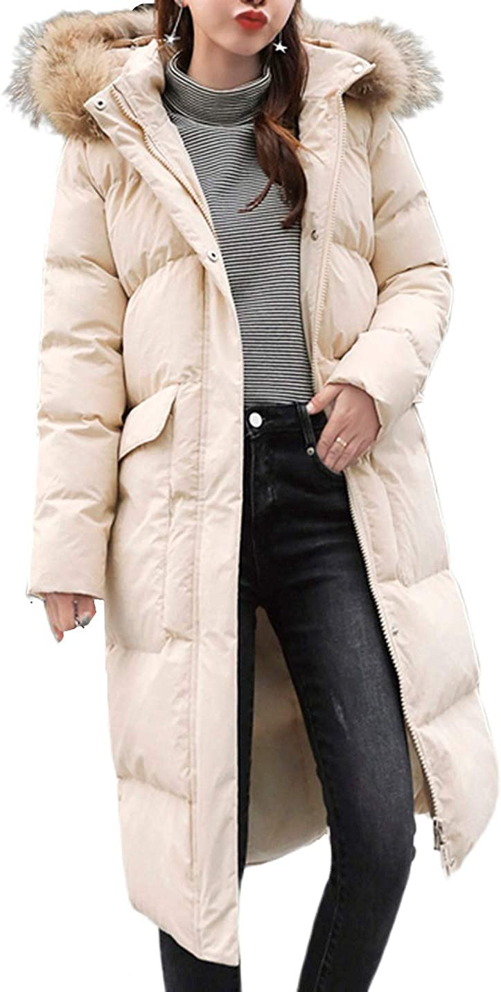 Uaneo Women's Mid Long Slim Thicken Puffer Quilted Fur Collar Hooded Winter Coat(White-S)
