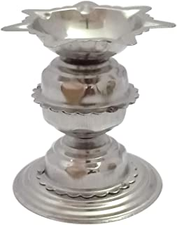 Stainless steel Diyas for Pooja - Deepak for Puja Aarti - Oil Lamp - Pooja Articles Home Decor Item Showpieces - House Warming Decoration Aarti Puja at Hindu Temple Mandir, Religious Diwali Gifts