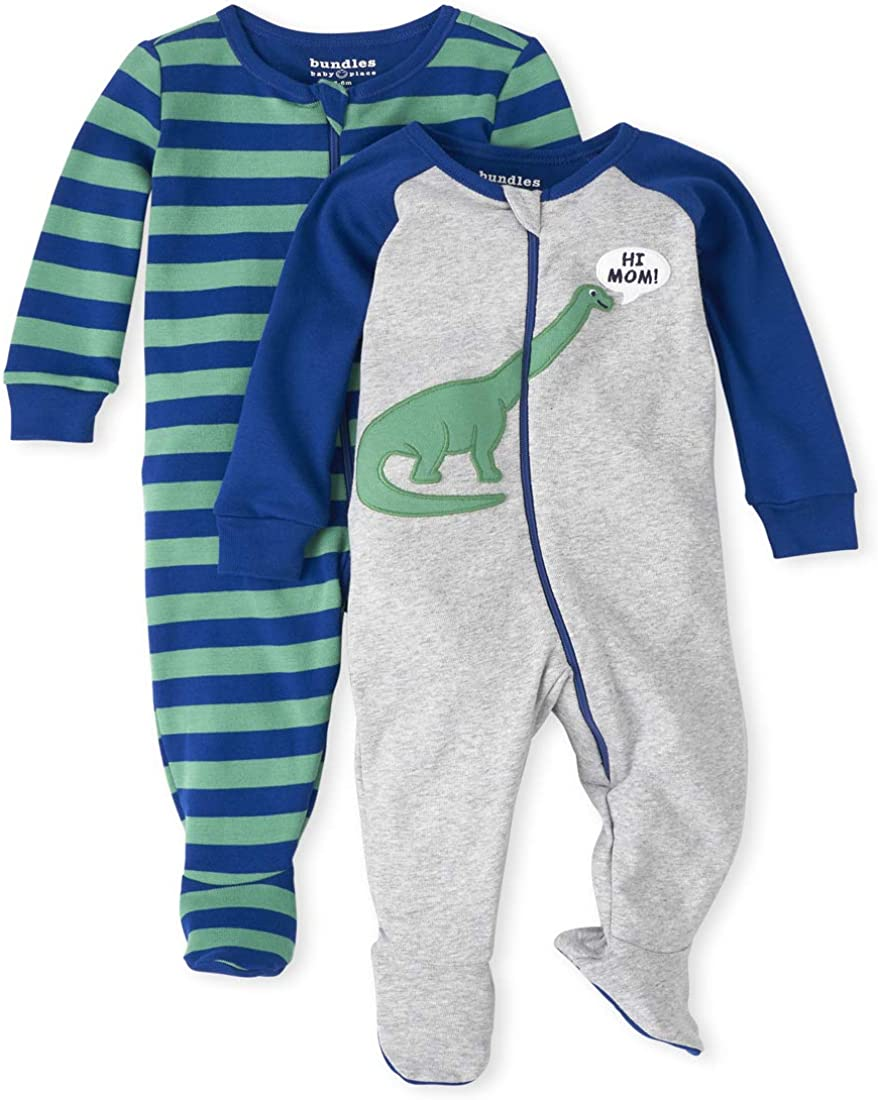 The Children's Place Boys' Baby and Toddler Dino Snug Fit Cotton One Piece Pajamas 2-Pack